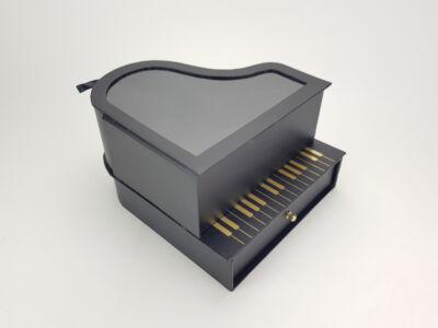 Zongoradoboz átlátszó tetővel, fiókos - fekete 18/#
