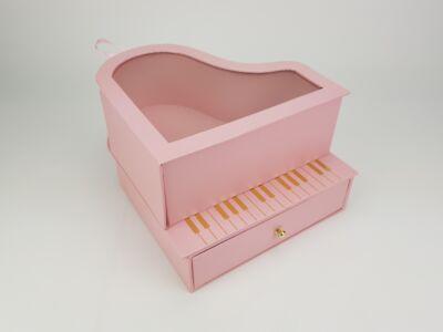 Zongoradoboz átlátszó tetővel, fiókos - rózsaszín 18/#
