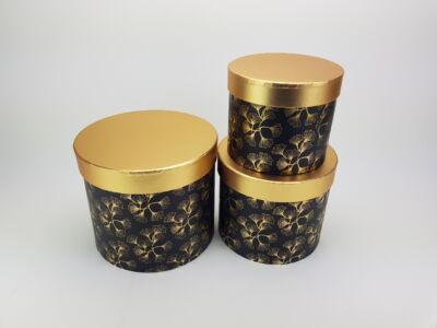 Aranyfedeles dobozok - virágmintás fekete 3db/szett 18/#
