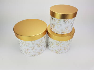 Aranyfedeles dobozok - virágmintás fehér 3db/szett 18/#