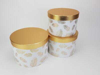 Aranyfedeles dobozok - madártoll mintás fehér 3db/szett 18/#