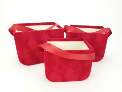 Füles bársony ajándék táska piros 3db/szett #48
