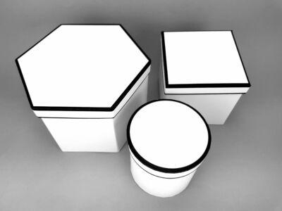 Hatszög & négyszög & kör alakú dobozok fehér 3db/szett 24/#