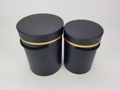 Kötél füles doboz arany szegéllyel - fekete 2db/szett 30/#