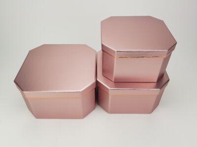 Nyolcszögletű doboz - metálrózsaszín 3db/szett 24/#