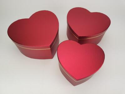 Szív alakú doboz - metálpiros 3db/szett 24/#