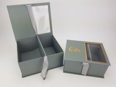 Virág-ajándék doboz szürke 2db/szett 24/#