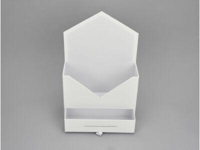 Boríték formájú papír virágtartó fiókkal fehér 64/#