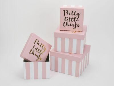 Kocka papírdoboz szett csíkos rózsaszín 4db 24/#