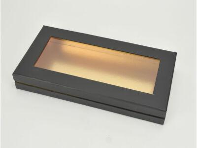 Lapos tégla papírdoboz arany belsővel fekete 60/#