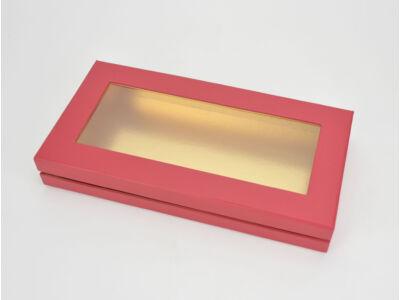 Lapos tégla papírdoboz arany belsővel piros 60/#