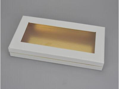 Lapos tégla papírdoboz arany belsővel fehér 60/#