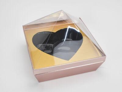 Gyémánt papírdoboz szív belsővel metálrózsaszín 16/#