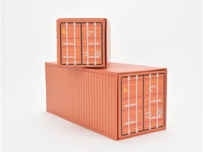 Konténer formájú papírdoboz szett 2db narancs 32/#