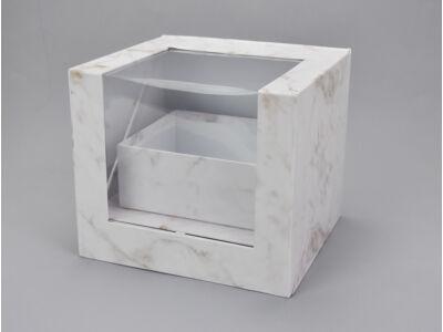 Felnyitható kocka papírdoboz fiókkal márvány 12/#