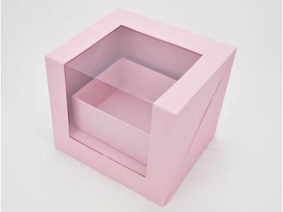 Felnyitható kocka papírdoboz fiókkal rózsaszín 12/#