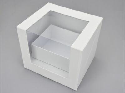 Felnyitható kocka papírdoboz fiókkal fehér 12/#