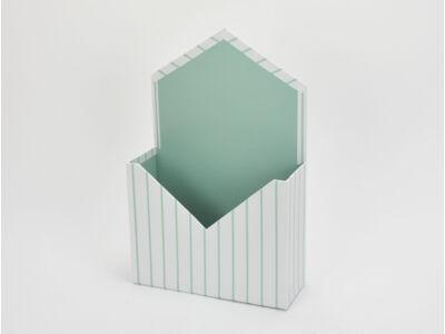 Boríték formájú papírdoboz zöld csíkos 64/#