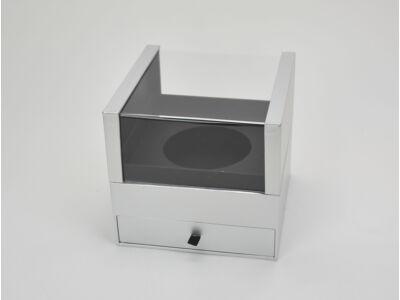 Exkluzív fiókos kocka papírdoboz ezüst 27/#