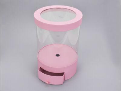 Átlátszó oldalú fiókos kerek papírdoboz - rózsaszín