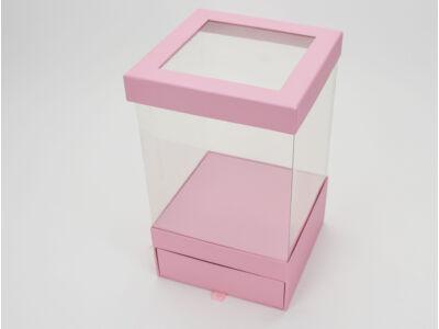 Átlátszó oldalú fiókos kocka papírdoboz - rózsaszín