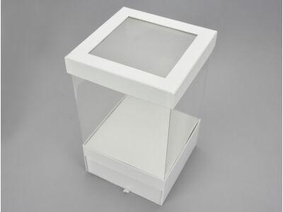 Átlátszó oldalú fiókos kocka papírdoboz - fehér