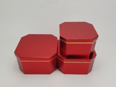 Nyolcszögletű doboz - metálpiros 3db/szett 24/#