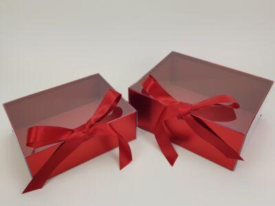 Delux ajándékdoboz - metál piros 2db/szett