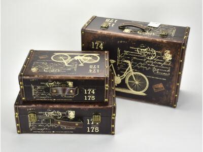 Bőrönd szett biciklis barna 3db/szett