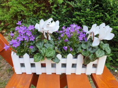 Fa kerítéses ládika hosszú fehér 100/#