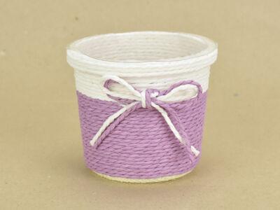 Köteles kaspó masnival, bélelt lila