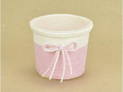 Köteles kaspó masnival, bélelt rózsaszín