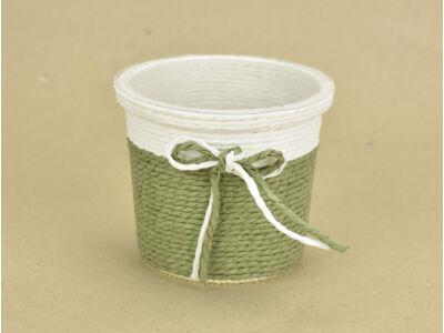 Köteles kaspó masnival, bélelt zöld