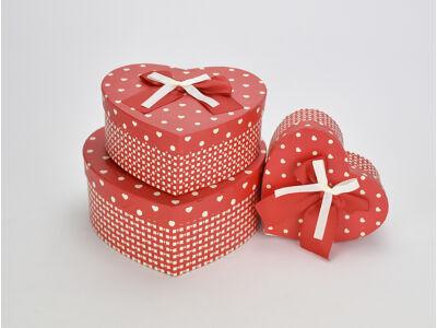 Szíves-kockás szív doboz szett piros 3db/szett