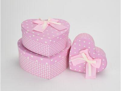 Szíves-kockás szív doboz szett rózsaszín 3db/szett