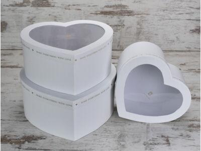Átlátszó tetős szív doboz szett fehér 3db/szett