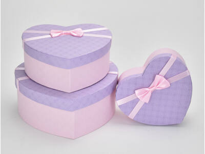 Szíves doboz szett lila tetős 3db/szett