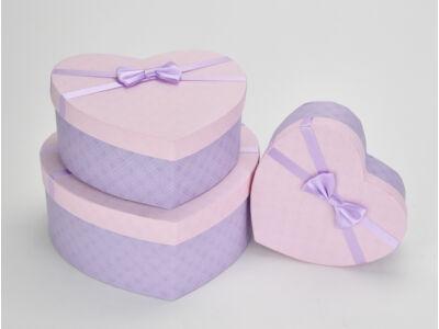 Szíves doboz szett rózsaszín tetős 3db/szett