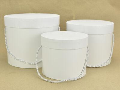 Papírdoboz szett kerek fehér 3db/szett