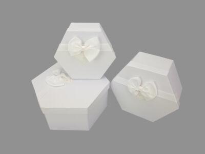 FEHÉR-fehér tetővel papír doboz hatszög 3db