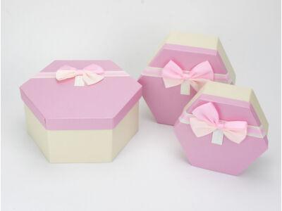KRÉM - rózsaszín tetővel papír doboz hatszög 3db