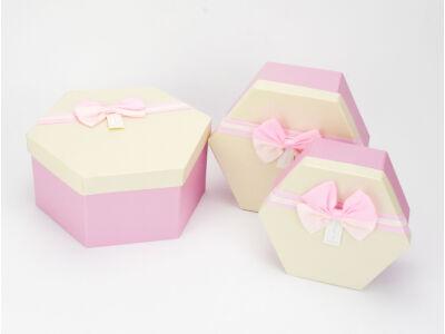 Rózsaszín - krém tetővel papír doboz hatszög 3db