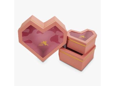 Gyémánt szív rózsaszín 3db/szett 16/#