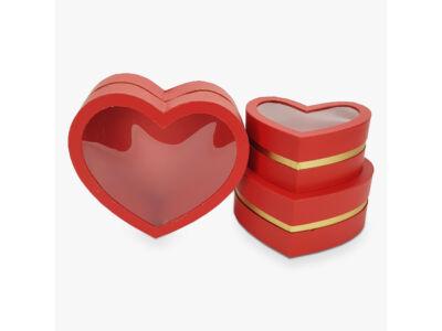 Aranyszegélyes szív doboz piros 3db/szett 16/#