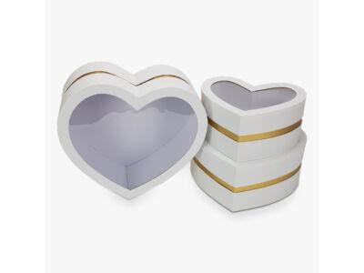 Aranyszegélyes szív doboz fehér 3db/szett 16/#