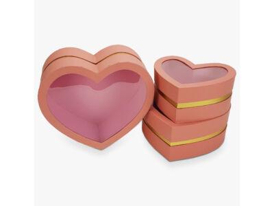 Aranyszegélyes szív doboz rózsaszin 3db/szett 16/#