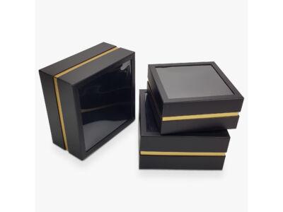 Aranyszegélyes kocka doboz fekete 3db/szett 16/#