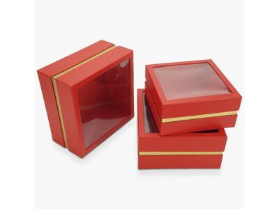 Aranyszegélyes kocka doboz piros 3db/szett 16/#