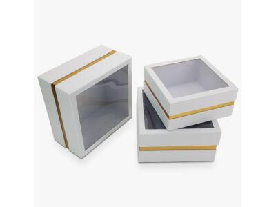 Aranyszegélyes kocka doboz fehér 3db/szett 16/#