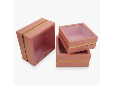 Aranyszegélyes kocka doboz rózsaszin 3db/szett 16/#